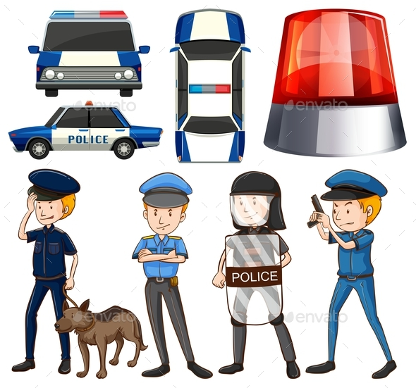 Policeman and Police Cars - People Characters