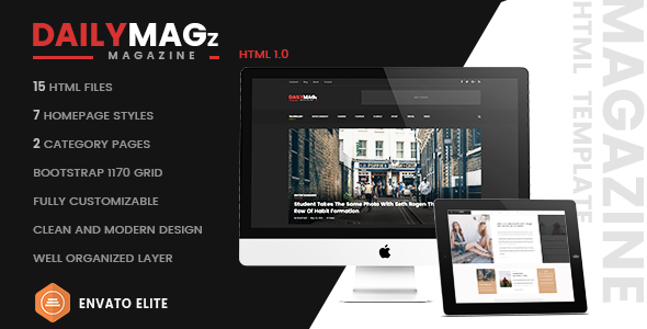 Daily Magz – Newspaper Responsive HTML Template (News, Magazine, Blog)