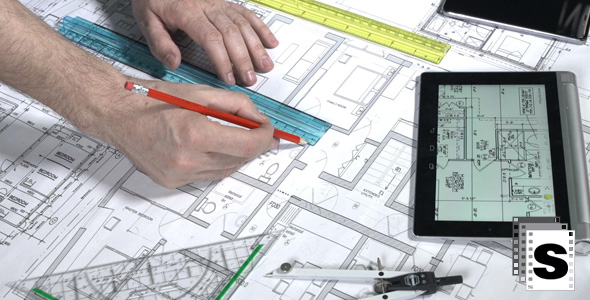 Architect checking blueprints by stockfactory videohive play preview video malvernweather Image collections