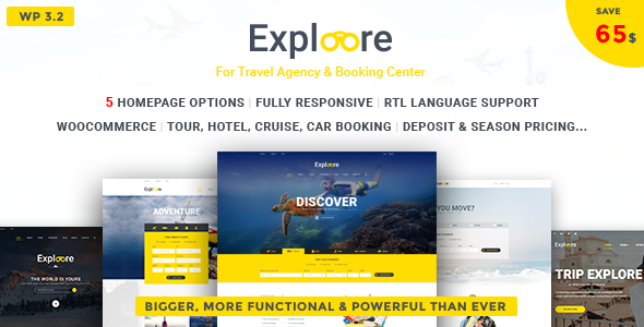 EXPLOORE – Travel Responsive WordPress Theme (Booking, Hotel, Rental, Cruise)