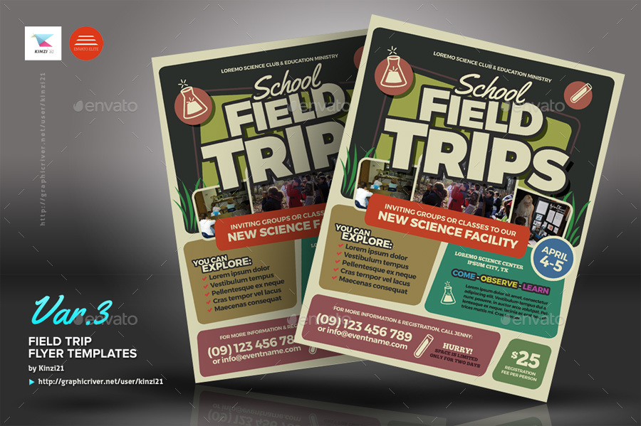Field Trip Flyer Templates By Kinzi21 Graphicriver