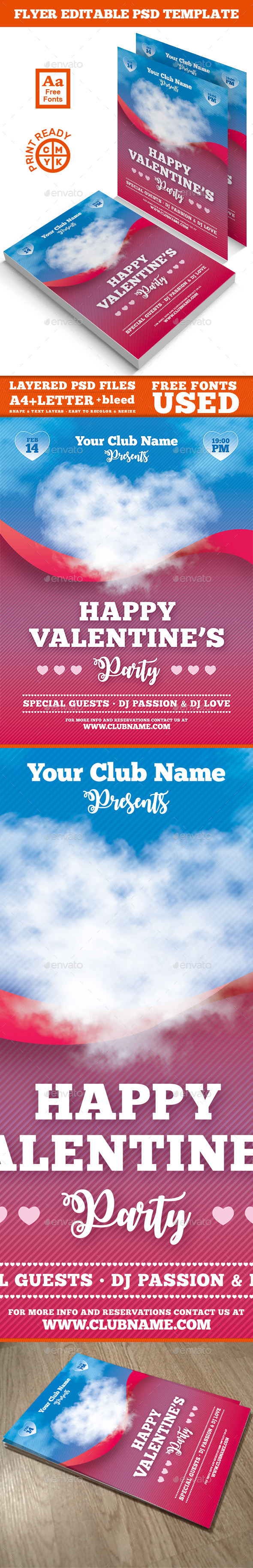 Valentine's Day Flyer A4 - Clubs & Parties Events