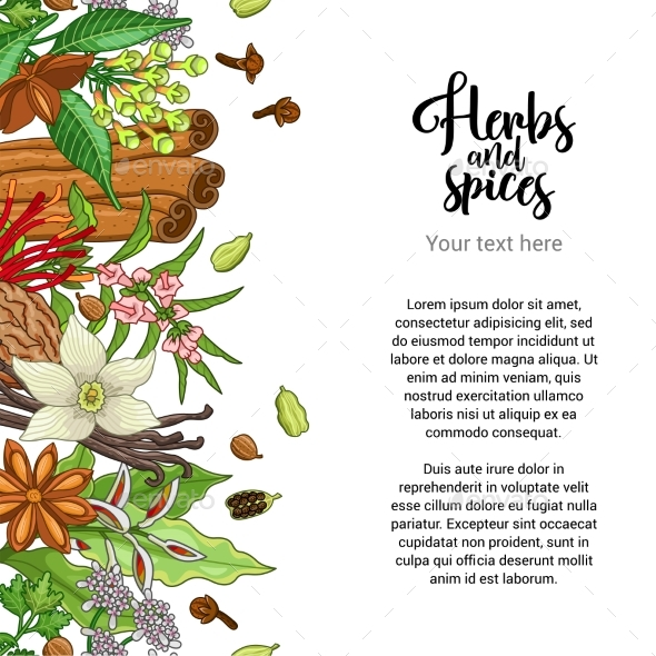 Bakery Card Design with Spices and Herbs - Flowers & Plants Nature