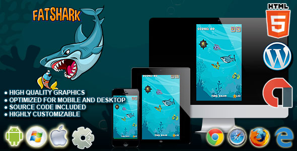 Fat Shark - HTML5 Construct  2 Survival Game - CodeCanyon Item for Sale