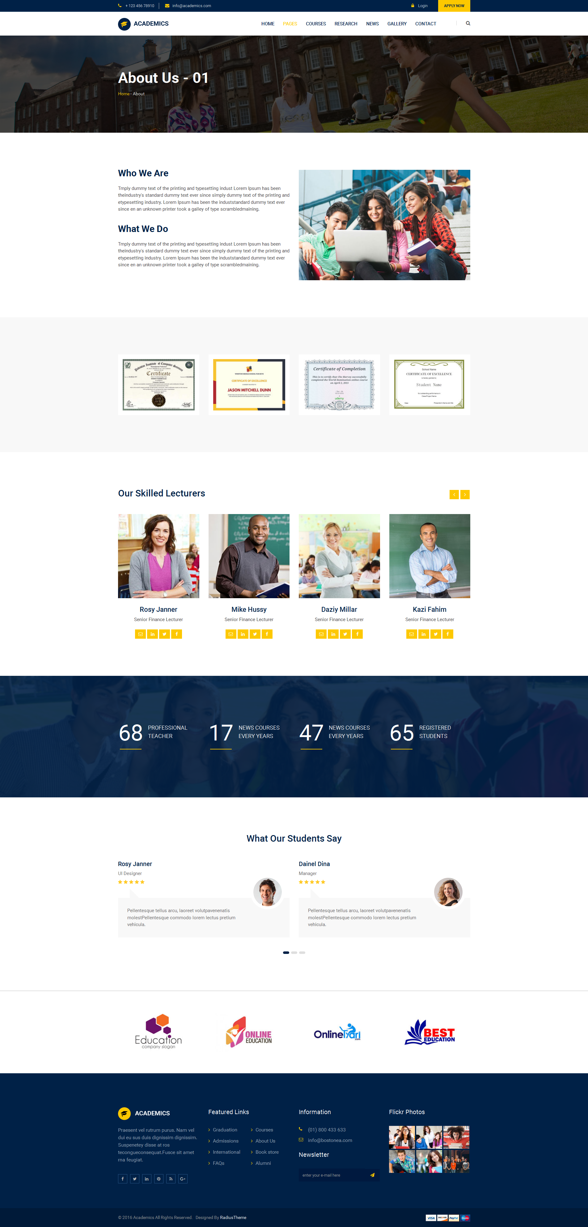 Academics education html template