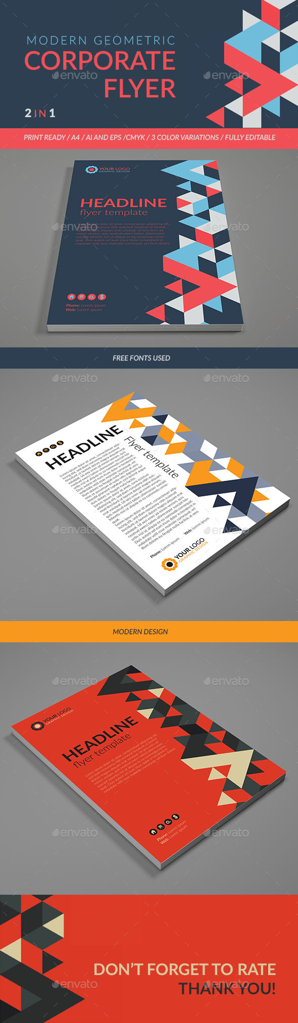 Modern Geometric Corporate Flyer. - Flyers Print Templates