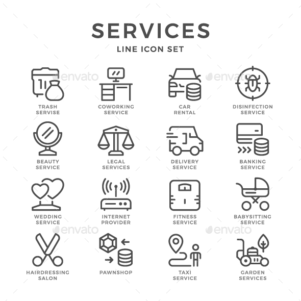 Set Line Icons of Services - Man-made objects Objects