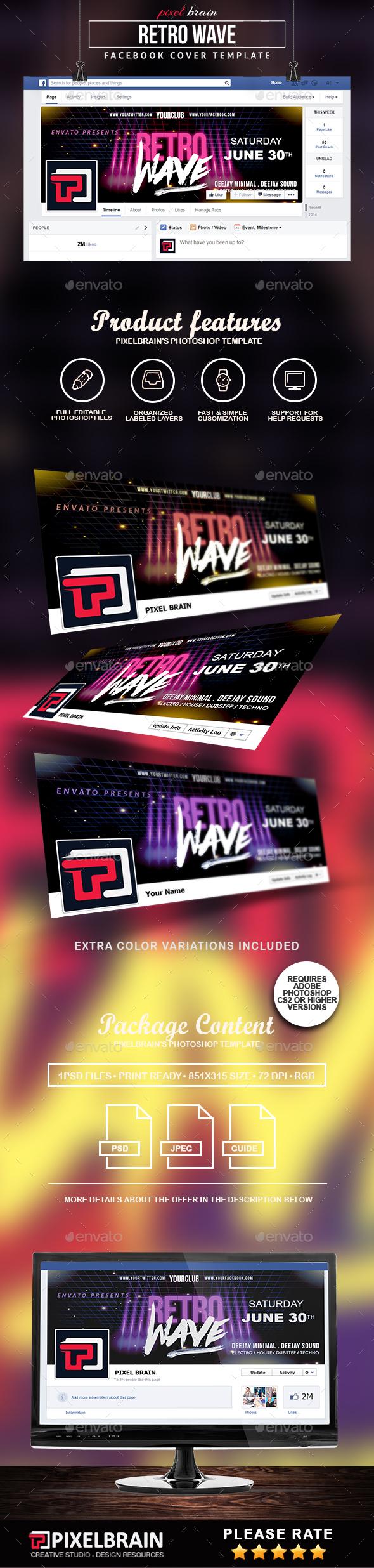 Retro Wave Facebook Cover Templates By Pixelbraincs Graphicriver