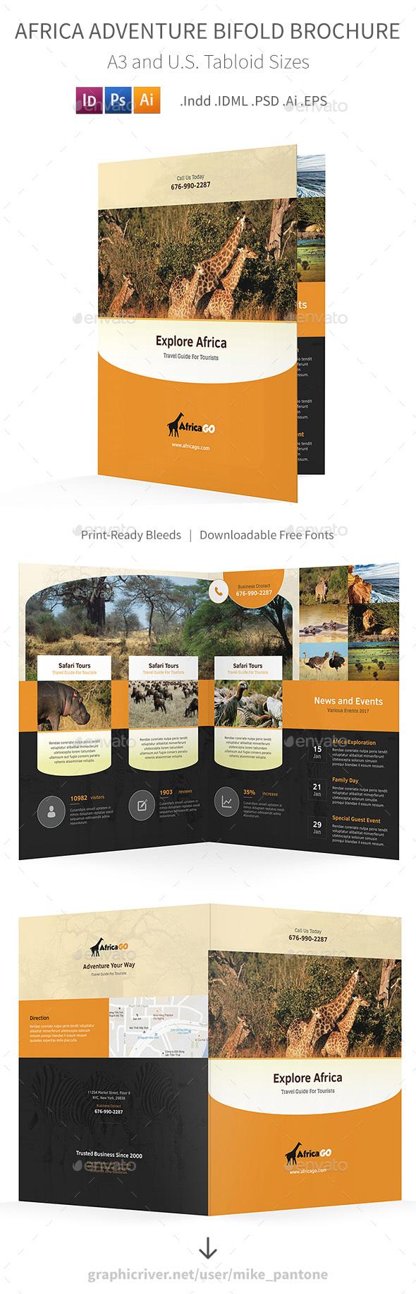 Africa Adventure Bifold / Halffold Brochure - Informational Brochures