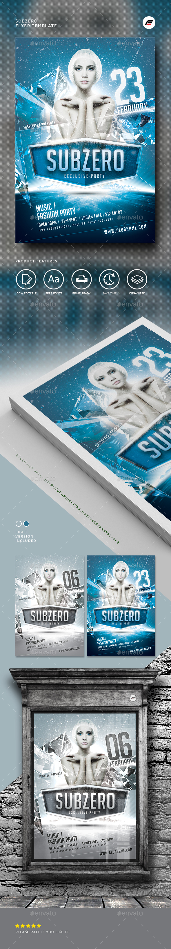 Subzero Winter Flyer Template - Events Flyers