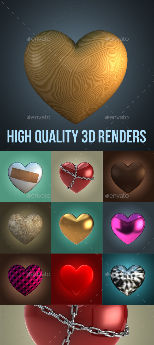 Hearts 3D Renders - 3D Renders Graphics
