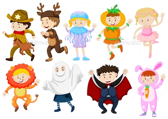 Kids Wearing Costumes for Halloween and Plays - People Characters