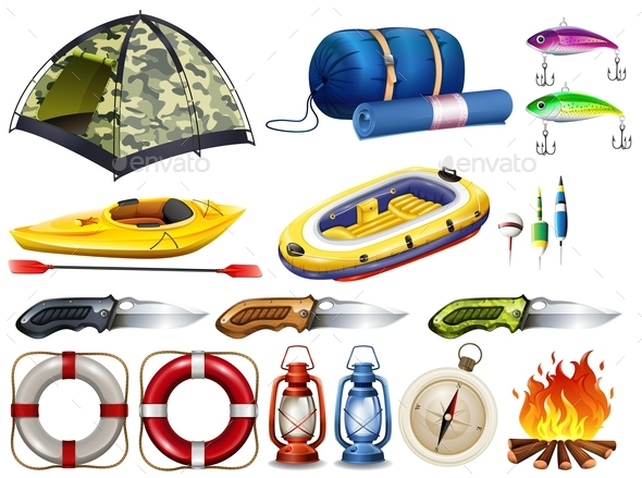 Camping set with tent and other equipment - Man-made Objects Objects