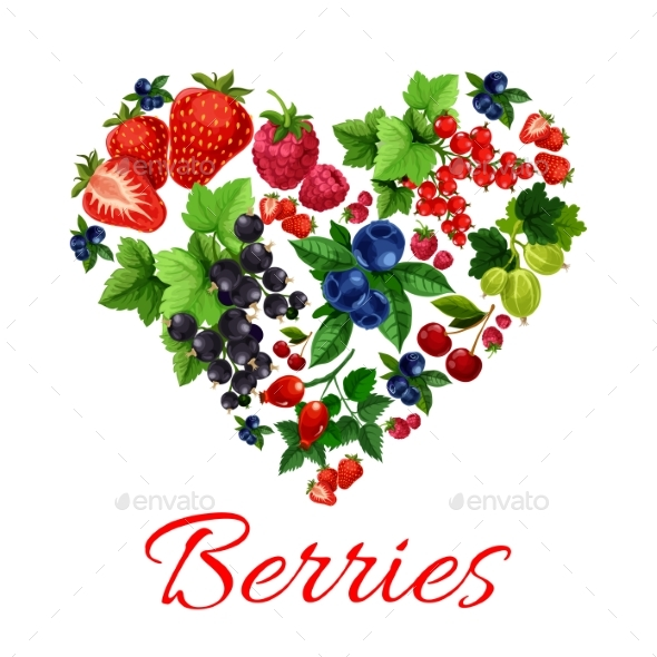I Love Berries Heart Shape Emblem - Food Objects