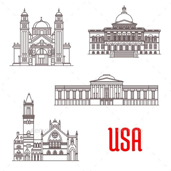 USA Architecture Landmarks Icons - Travel Conceptual