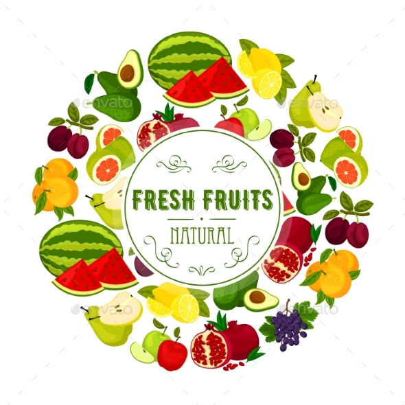 Natural Fresh Fruits Round Label Design - Food Objects