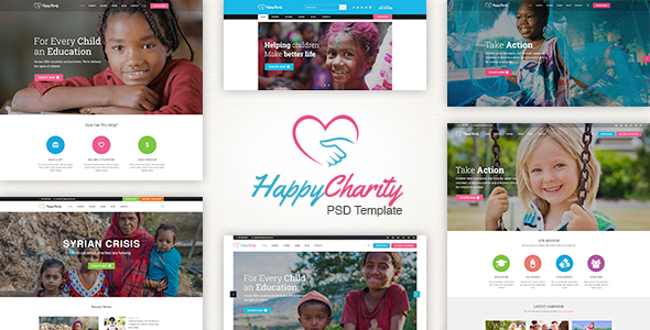 HappyCharity – Multipurpose Nonprofit Charity PSD Template