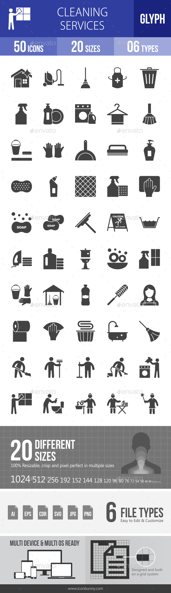 Cleaning Services Glyph Icons - Icons