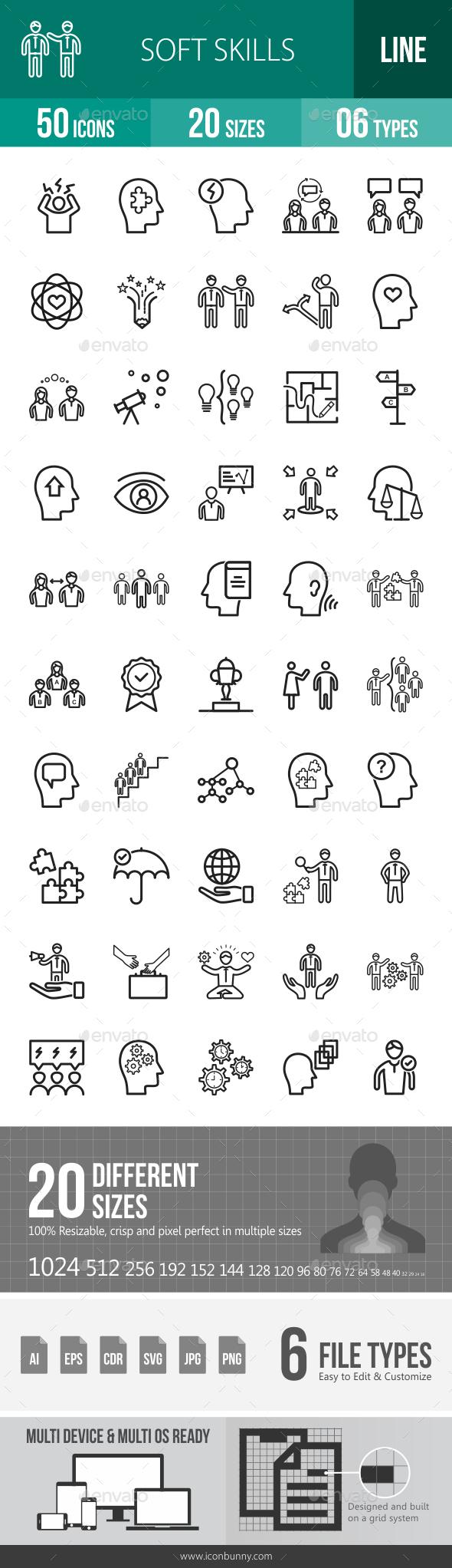 Soft Skills Line Icons - Icons