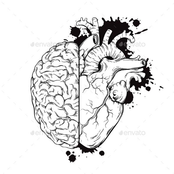 Human Brain and Heart Half - Tattoos Vectors