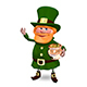 3D Illustration of Saint Patrick in Hat Keeps Pot Nulled