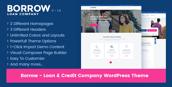 Borrow - Loan Company Responsive WordPress Theme | Digital Market 1