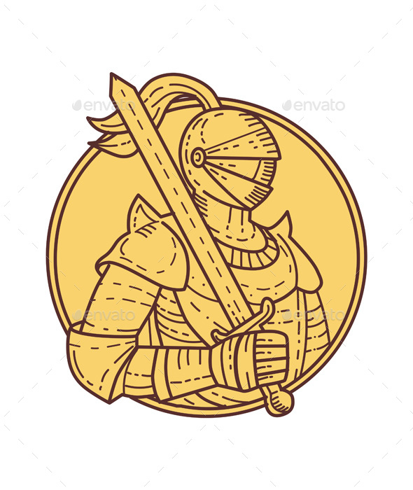 Knight Sword On Shoulder Circle Mono Line - People Characters
