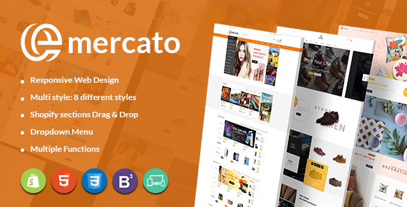 Emercato | Multi-purpose Responsive Shopify Theme - Sectioned Drag & Drop Theme Builder