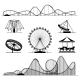 Amusement Ride or Luna Park Roller Coasters - GraphicRiver Item for Sale