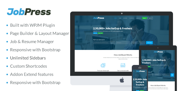 JobPress - Premium WordPress Job Manager Theme - Directory & Listings Corporate