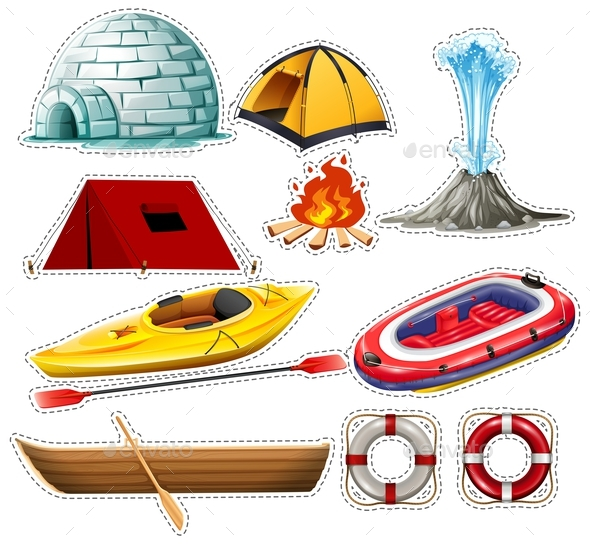 Different Kinds of Boats and Camping Things - Miscellaneous Vectors