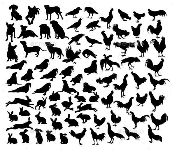 Animal Set Silhouettes - Animals Characters