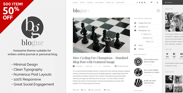 Blogue – WordPress Theme for Writers