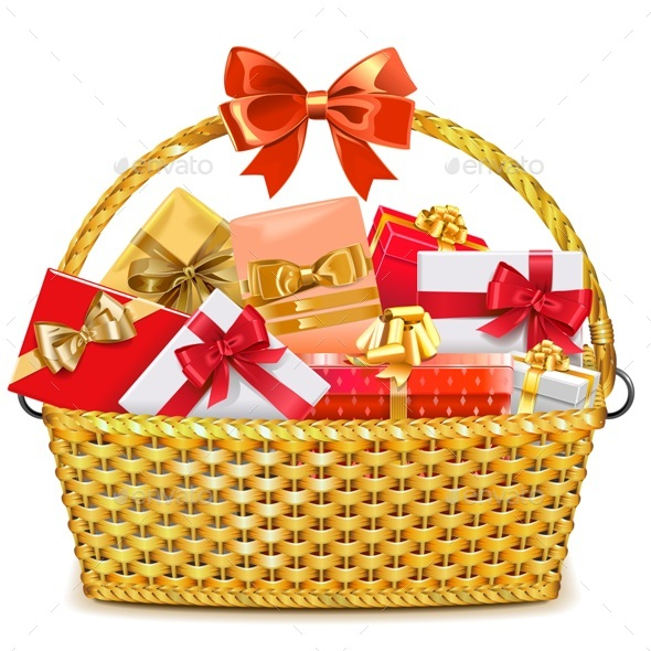 Wicker Basket with Gifts - Miscellaneous Seasons/Holidays