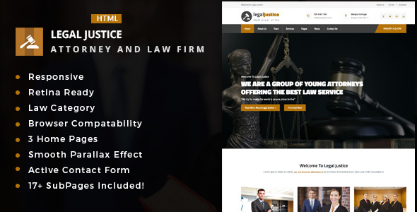 Legal Justice - Template for Lawyers Attorneys and Law Firm - Business Corporate