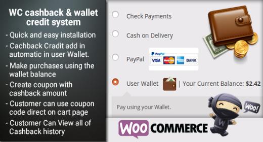 Woocommerce Cashback + wallet credit system