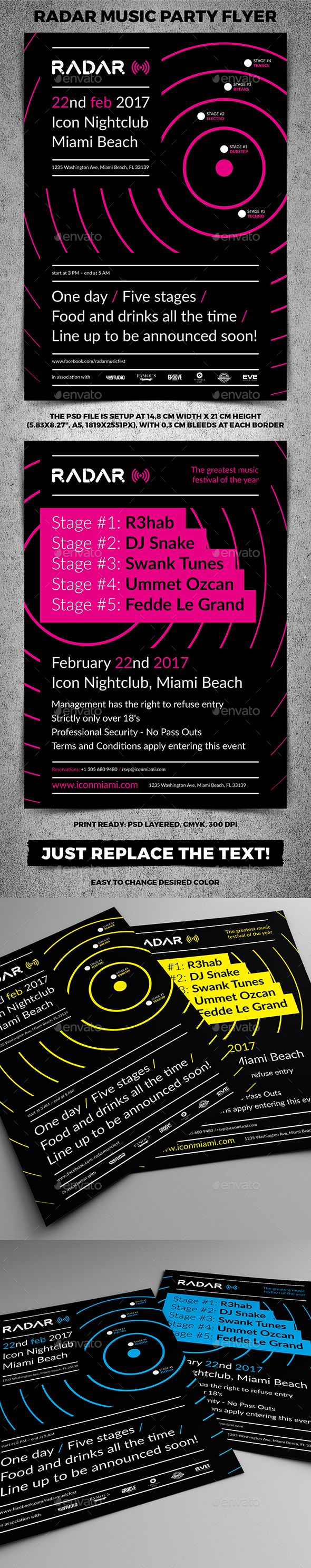 Radar Music Party Flyer - Clubs & Parties Events