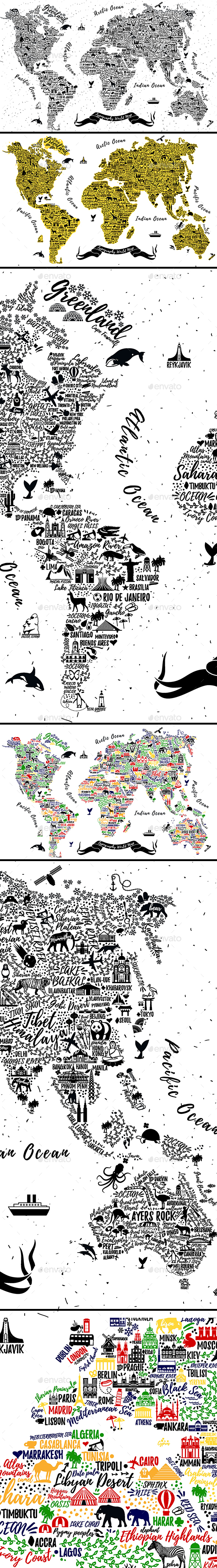 Typography World Map - Travel Conceptual