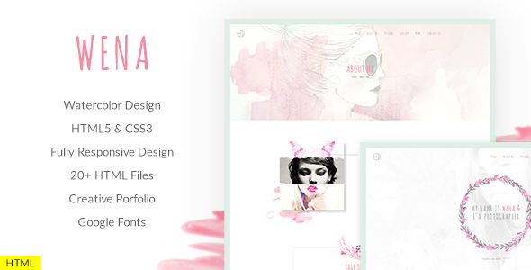 Wena - Watercolor Photography Portfolio Website Template - Portfolio Creative