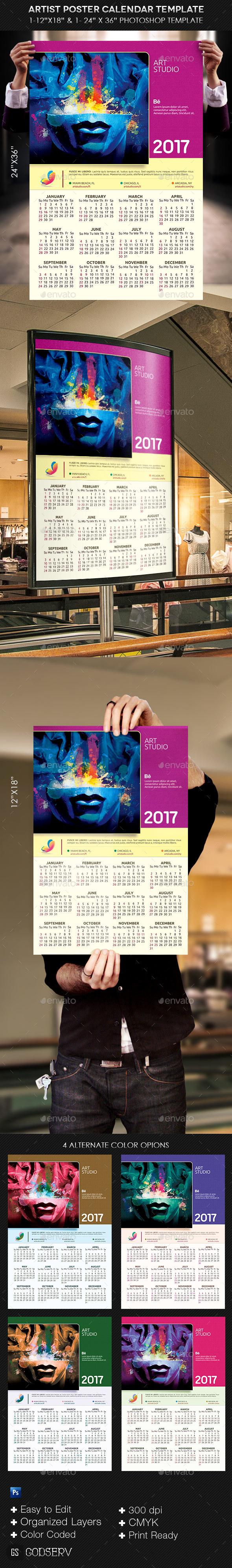 Artist Poster Calendar Template - Calendars Stationery
