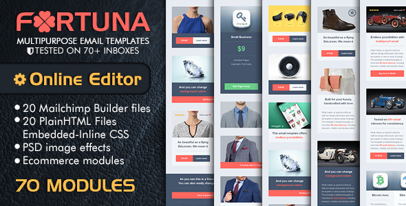 Responsive Email Template – FORTUNA Multipurpose Email With Email Template Builder Online Access