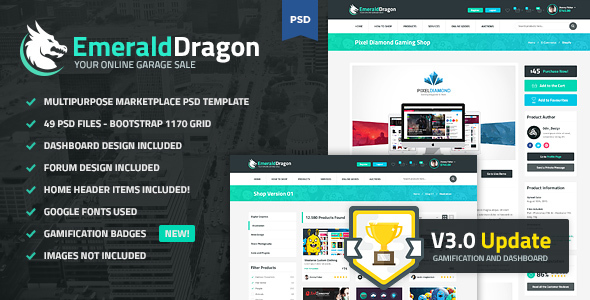 Emerald Dragon - PSD Multipurpose Marketplace - Retail PSD Templates