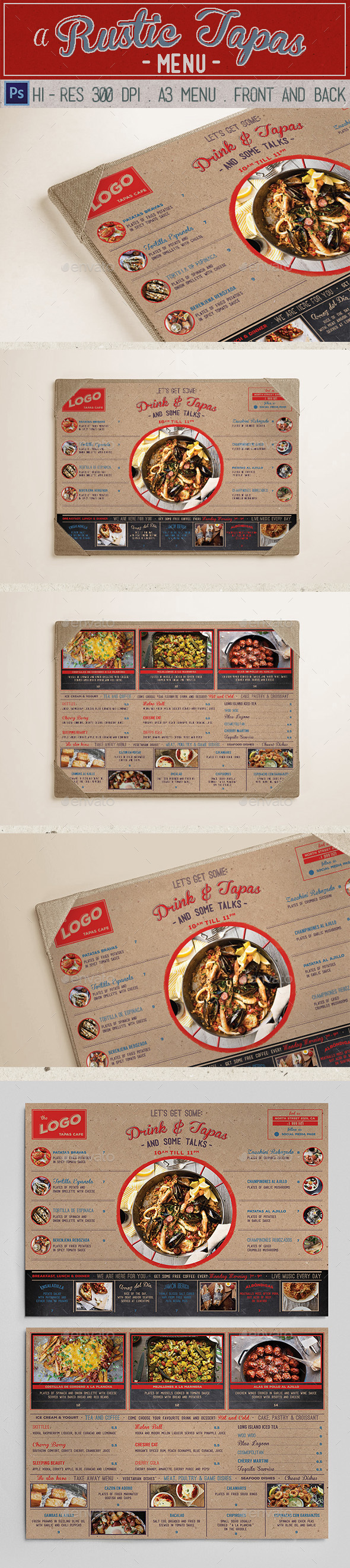 Rustic tapas menu by klapauciusco graphicriver for Tapas menu template