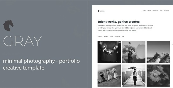 Gray- Minimal Photography and Portfolio Template