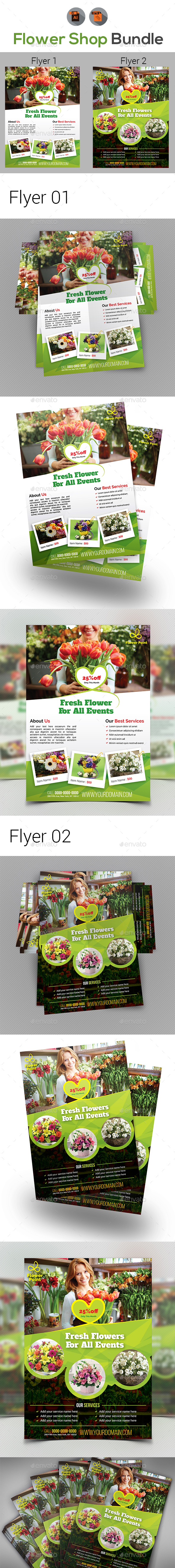 Flower Shop Flyer Bundle - Flyers Print Templates