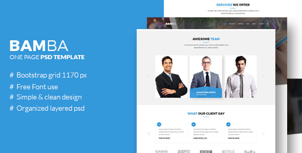 Bamba – One Page Psd Website Template