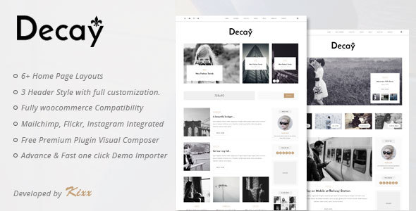 Decay – A Responsive Personal Blog & Woocommerce WordPress Theme