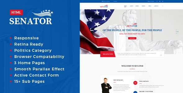 Senator - Politic, Senator and Election Campaign HTML Template