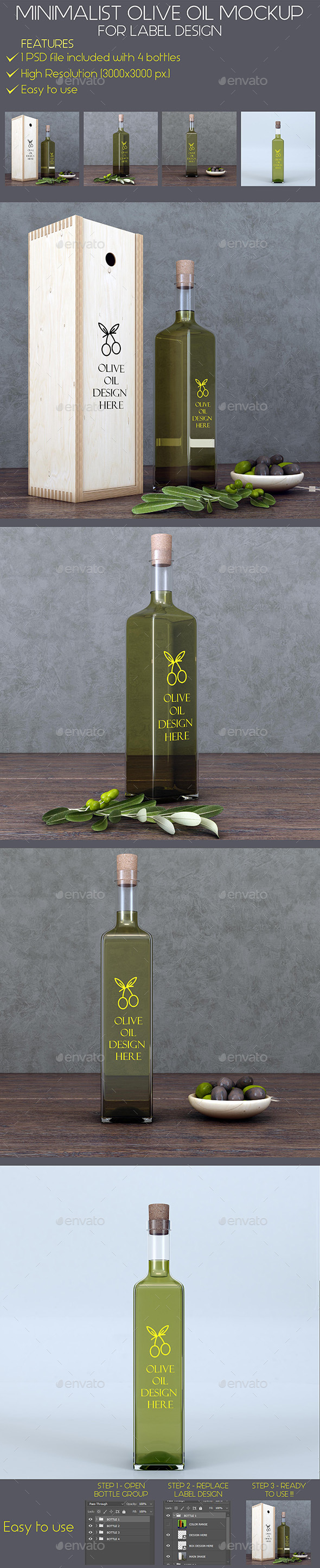 Minimalist Olive Oil Mockup - Food and Drink Packaging