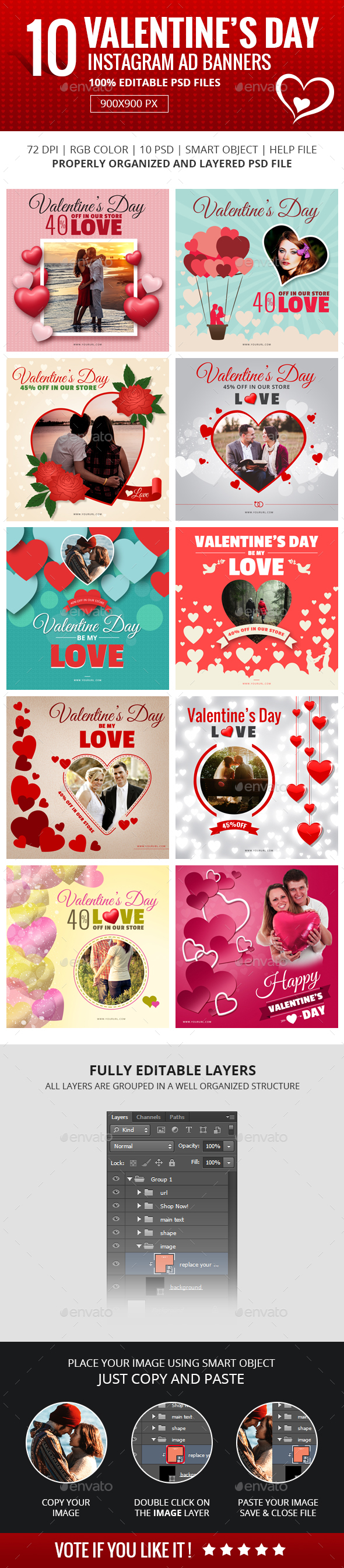 Valentine Instagram Banners - Banners & Ads Web Elements